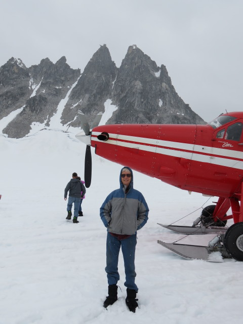 Sharp Peaks, Glacier Snow, A Plane with Skis, and Rob enjoying it all!