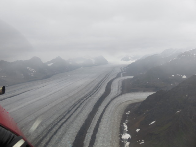 Flying over the glacier just after take off