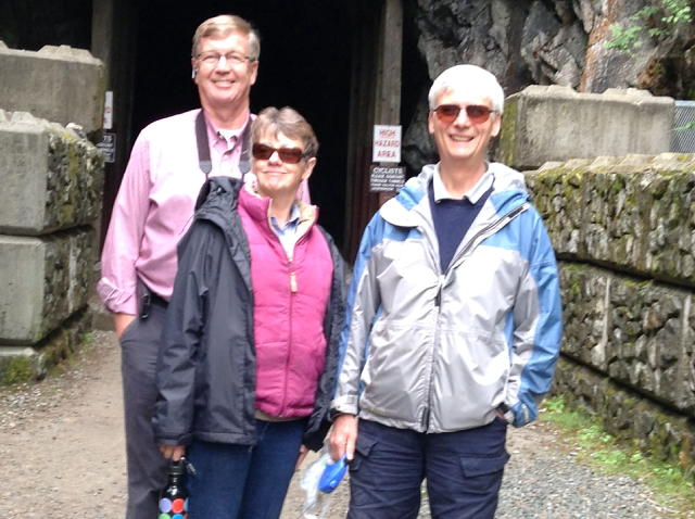 Our friend, Bill and Luciena pose with me as we entered the Othello Tunnels