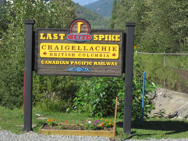 The sign highlighting the Last Spike joining east and west