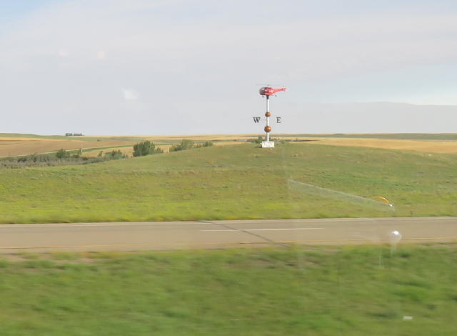 Swift Current, SK has a helicopter as a weathervane