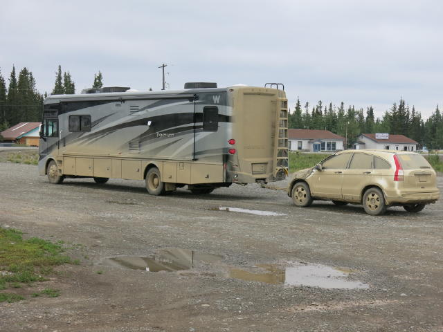 A typical RV & Tow Car after travelling the Klondike Loop - What a Mess!