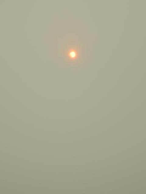 The Sun at noon through the wildfire smoke fog in Fairbanks